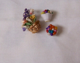 tiny miniature flowers and bowls