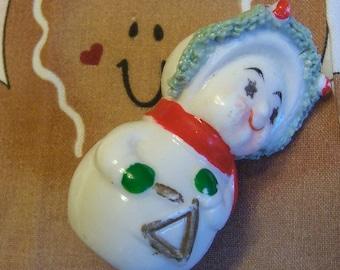 tiny wee porcelain snowman figurine