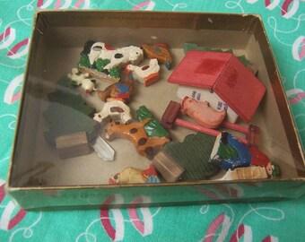 little vintage wooden farm set