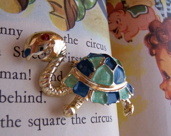 teal and  blue turtle brooch