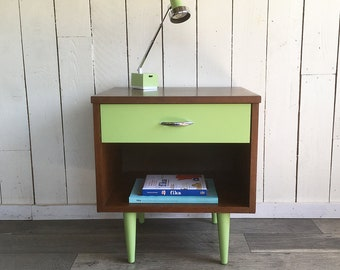 """Mid Century Modern Nightstand - Bedside Table - End Table - Side Table """"Granny Smith Green Color Accents"""""""