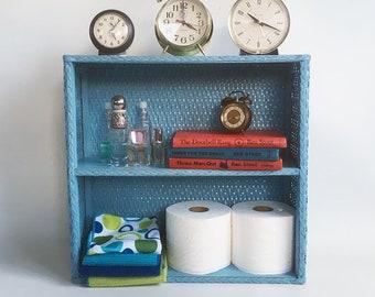 "Vintage Blue Wicker Bathroom Shelf, Bookshelf, Shelf Unit, Bathroom Organizer ""Eclectic Boho Style"""