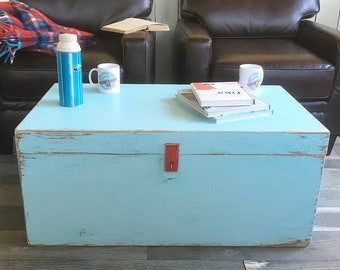 Vintage Shipping Trunk, Storage Chest, Foot Locker, Coffee Table, Toy Chest with Shabby Light Blue Painted Finish