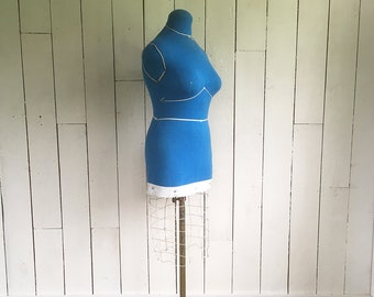 Mid Century Dressmaker's Form - Tailor's Form, Blue Dress Form, Mannequin