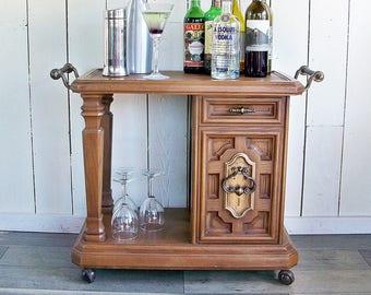 Mid Century Faux Wood Quasar TV Cart, Bar Cart, Serving Cart, Tea Cart, Side Table