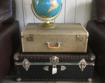 Large 1950s Striped Suitcase, Tweed & Leather Trim Hard-sided Suitcase - Nicely Distressed, Perfect for Stacking or Prop Use