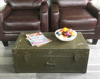 Ordinaire 1940s Purves Trunk, Steamer Trunk, Military Footlocker Ready For Coffee  Table Duty
