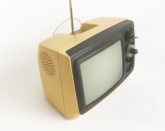 "1970s Mod Portable Television, JC Penney 9"" Black & White Portable TV ""Dijon Mustard Body"""