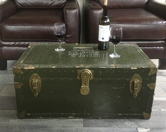 WWII Officer's Trunk, Footlocker, War Trunk, Steamer Trunk, Coffee Table Trunk with Stenciled Letters and Shipping Labels
