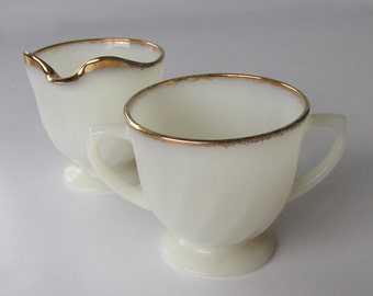 Mid Century Anchor Hocking Fire-King Cream & Sugar - Golden Swirl - Golden Shell - Milk Glass