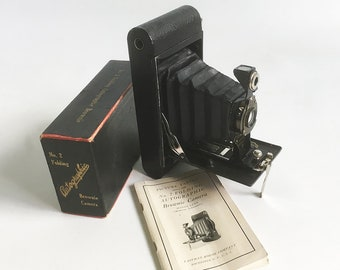 """1919 Kodak No. 2 Folding Autographic Brownie Camera with Original Box and Manual """"Antique Camera in Excellent Condition"""""""
