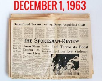 "Old Newspaper From December of 1963 - Spokane, WA Spokesman-Review ""Cold War - Presidend Kennedy Assasination News"""