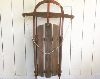 "Red Mid Century 39"" Snow Sled - Steel Racer Sled - Bob Sled - Winter Decor"