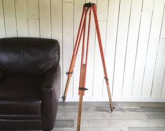 Vintage Surveyor's Transit Tripod, Industrial Orange Wood & Steel Tripod, Up-cycle Lamp Tripod, Floor Lamp Stand with Adjustable Height