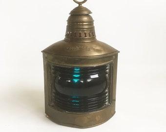 "Antique Quast & Bruning Brass Ship Lantern, Starboard Running light ""Accent Lighting for Nautical Decor"""