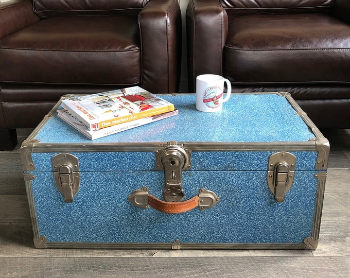 Featured listing image: Mid Century Blue Metal-Sided Travel Trunk, Footlocker, Coffee Table Trunk, Dorm Storage