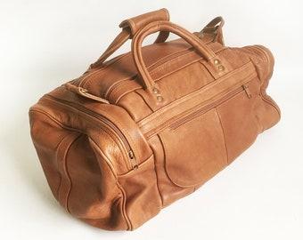 "Vintage Hand-made Leather Duffel Bag, Carry-on, Bag, Shoulder Bag, Gym Bag  ""FREE USA SHIPPING"""