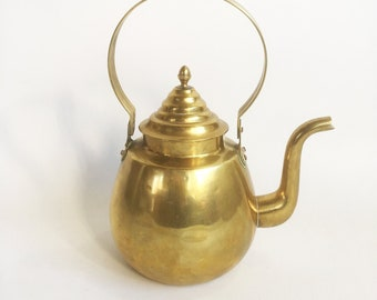 "Vintage Brass Teapot, Tea Kettle, Brass Cookery ""FREE USA SHIPPING"""