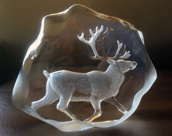 Mats Jonasson Lead Crystal Reindeer Sculpture, Signed by Artist Collectible Swedish Glass