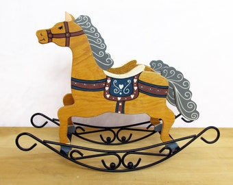 Vintage Handpainted Rocking Horse Planter - Box