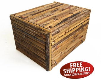 Mid Century Rattan Hinged Box, Boho Storage, Bamboo Covered Wooden Box, Storage Box, Tropical Decor