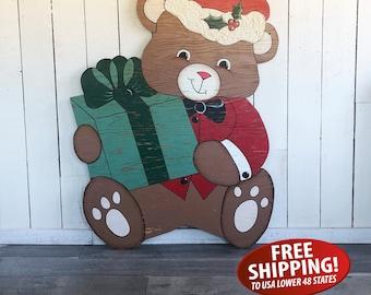 Large Kitschy, Vintage, Homemade Christmas Teddy Bear Yard Art, Christmas Yard Art, Christmas Decoration, Christmas Wall Art