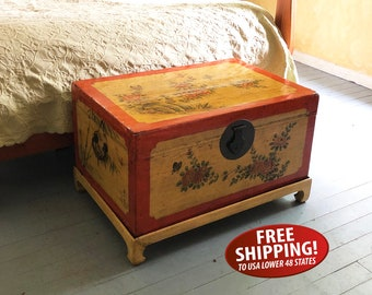 Early 20th Century Asian Hand-painted, Lacquered Leather Trunk, Chest, Blanket Chest, Chinese Storage Trunk with Stand