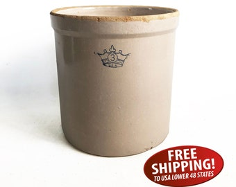 Robinson Ransbottom Blue Cross 3 Gallon Crock, Stoneware Crock, Farmhouse Decor, Kitchen Storage, Country Decor, Primitive Crock