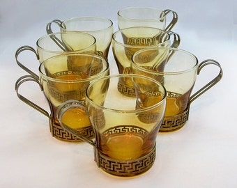 Mid Century Glass & Metal Mugs - Coffee Cups - Set of 7 - Hollywood Regency Style