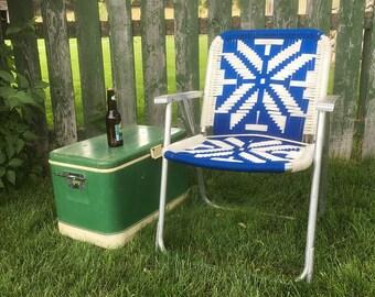 Vintage Macramé Lawn Chair with Blue & White Design - Retro Patio Chair