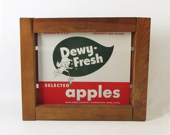 Mid Century Fruit Crate Front Panel - Apple Label - Minnesota