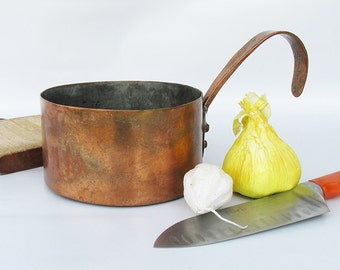 """Antique Hand Forged Solid Copper Sauce Pan - Cooking Pot """"Interesting Back Story"""""""