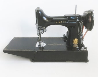 1957 Singer Featherweight Sewing Machine Model 221-K with Case and Lots of Extras