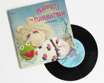 "1984 ""The Muppets Take Manhatten"" Book & Record - Read and Play Story"