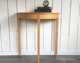 Minimalist Shaker Style Half Round Hall Table, Side Table, Console Table    Three Leg Table In Honey Oak