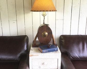 "Vintage Wood Block & Tackle Table Lamp, Nautical Lamp ""Beachhouse or Nautical Decor"""