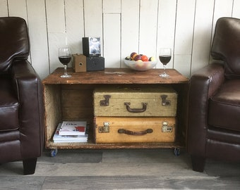 """Large, Antique, Rustic Industrial Shipping Crate Turned Rolling Coffee Table, Side Table """"A Unique Piece with Lots of Storage Space Inside"""""""
