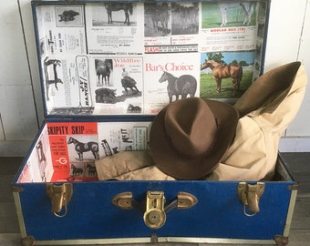 Vintage Blue Metal-Sided Trunk, Footlocker lined with Old Horse Magazine Ads - Cowboy Trunk, Dorm Room Storage