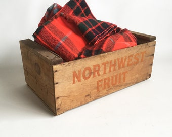 """Old Fruit Crate, Apple Crate, Imprinted Wooden Box from the Pacific Northwest """"Northwest Fruit"""""""