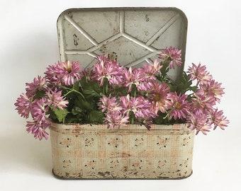 1950s Metal Litho Breadbox - Shabby Distressed Tin Bread Box, Hinged Metal Box