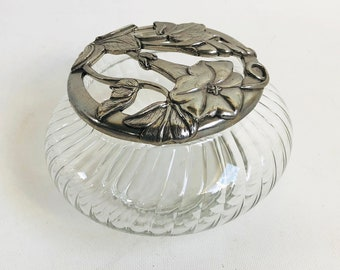 Vintage Seagull Pewter Glass & Pewter Candy Dish, Condiment Dish, Vanity Storage - Made in Canada