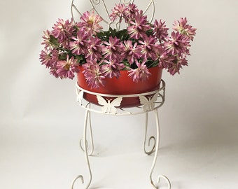 Vintage Shabby Metal Wire Butterfly Plant Stand - Chair Style Plant Stand, Garden Art