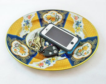 Vintage Oval Shaped Daher Decorated Ware Metal Litho Tray With Oriental Pattern - Nightstand Tray, Key & Coin Tray