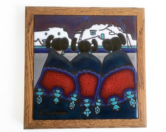 "Vintage Cleo Teissedre Ceramic Trivet, Wall Hanging, Southwestern Art ""FREE USA SHIPPING"""