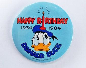 1984 Donald Duck 50th Anniversary Button, Pinback Button, Badge, Disney Collectible, Disneyland Memorabilia, Disneyana - FREE USA SHIPPING