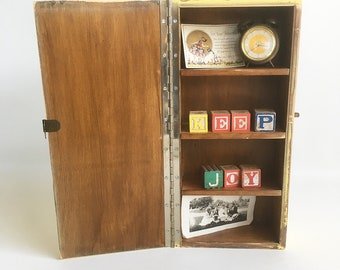 """Vintage Homemade Wall Cabinet, Curio Cabinet, Jewelry Box, Wooden Box with Hinged Lid """"Shabby Yellow Finish"""""""