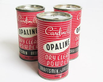 Mid Century Cardinell Opaline Dry Clean Powder Can, Drafting Powder, Eraser Powder