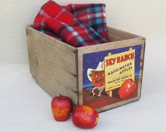 "Old Washington State Apple Crate, Fruit Crate, Wooden Box - Fun Cartoon Graphics ""Sky Ranch Apples"""