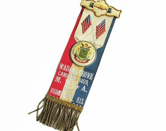 Antique Modern Woodmen of America Fraternal Organization Award Ribbon, Memoriam Ribbon from Late 1800s