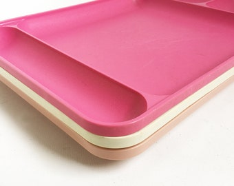 Set of 3 Mid Century Tupperware Plastic Divided Trays, Plates, Stackable Picnic Plates, Vintage Camping Trays